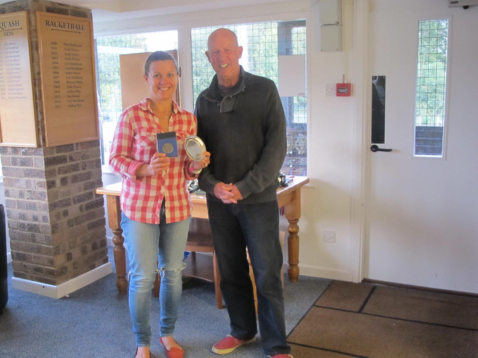 Chrissy Mayers, Ladies Singles Consolation winner with Mike Henderson